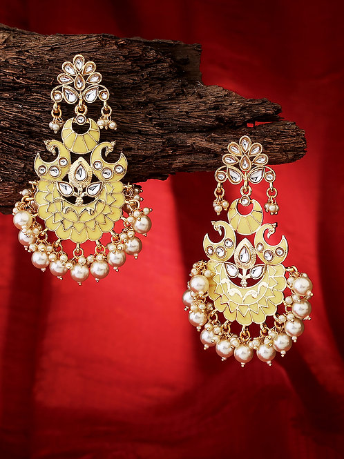 Yellow Gold-Plated Handcrafted Kundan Studded Traditional Classic Drop Earrings