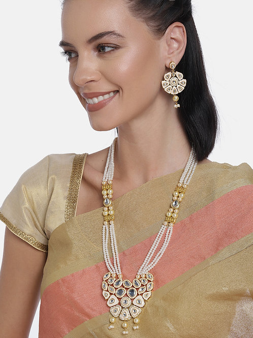 Gold-Plated And White Handcrafted False Ruby Studded Jewellery Set