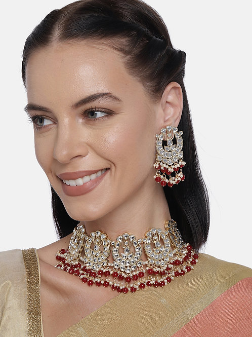 Gold-Plated And Red Handcrafted Kundan Studded Jewellery Set