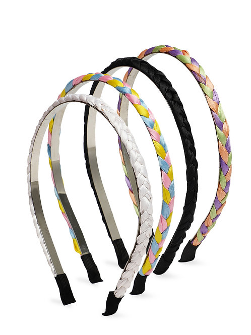 Set of 4 braided hairbands in white, black & multicolour