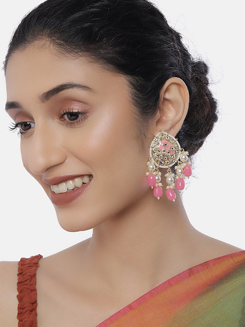 Gold-Plated & Pink Kundan Studded Classic Drop Earrings
