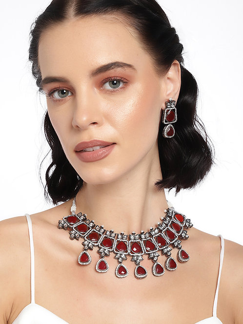 Laida Maroon & Silver-toned Silver Plated Zirconia-Studded Handcrafted Jewellery