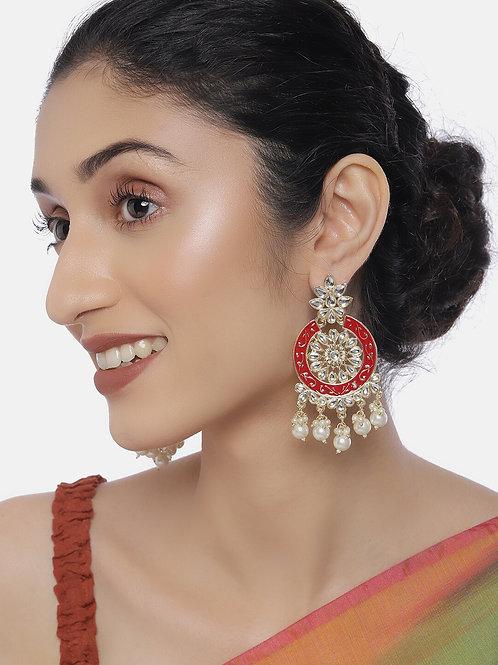 Gold-Plated & Red Kundan Studded Classic Chandbalis