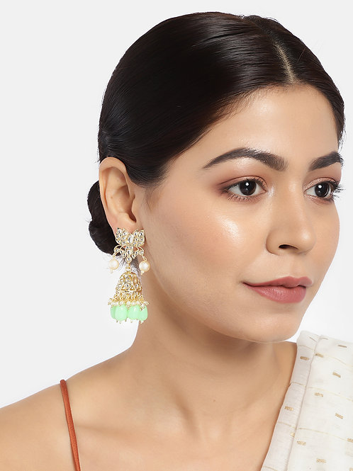 Gold-Toned & Sea Green Stone-Studded Handcrafted Classic Jhumkas