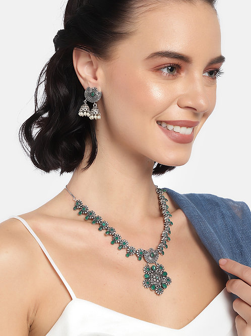 Laida Women Green & Silver-toned Silver Plated Jewellery Set