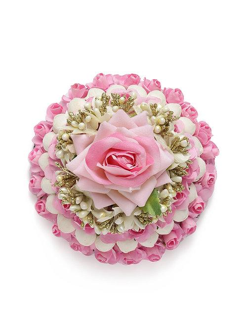 Pink Embellished Gajra Designed Hair Bun Cover