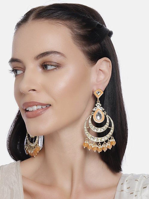Gold-Plated & Orange Handcrafted Crescent Shaped Chandbalis