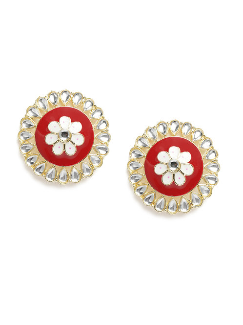 Maroon & Off-White Gold Plated Circular Floral Traditional Studs