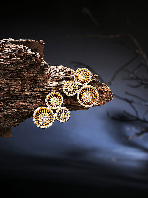 Gold-Plated Handcrafted Studded Floral Drop Earrings