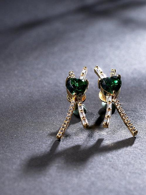 Gold-Plated & Green Heart Shaped American Diamond Studded Drop Earrings