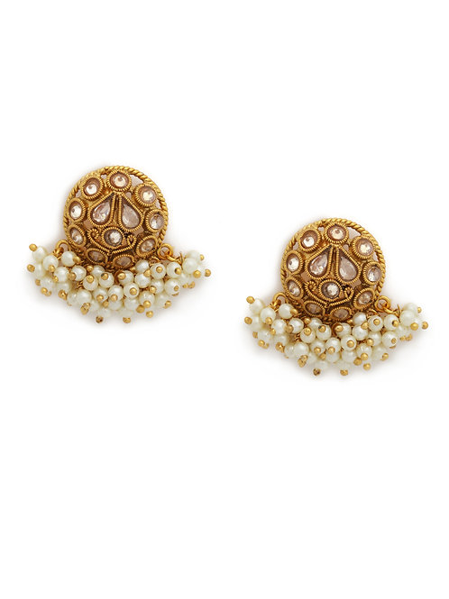 Gold-Toned Stone-Studded Circular Studs