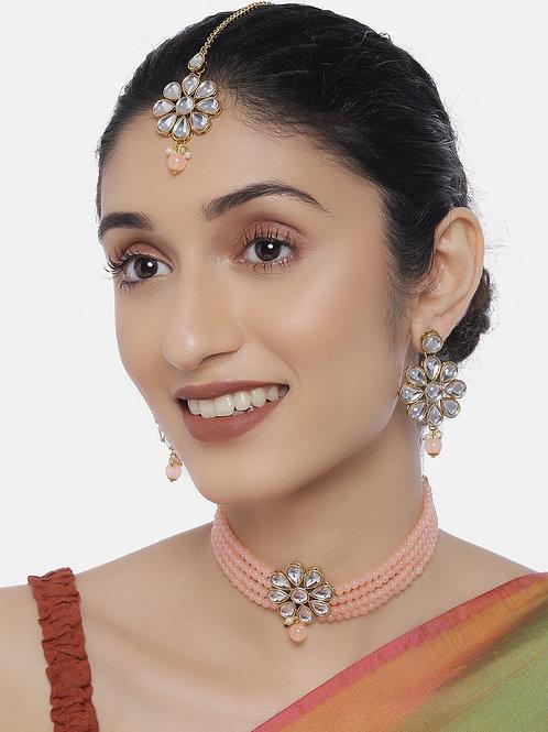 Women Gold-Plated & Peach-Coloured Jewellery Set With Maangtika