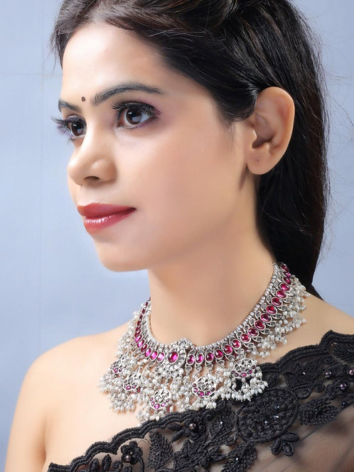 92.5 Sterling Silver Unique design Guttapusalu Silver Necklace and earring (Set