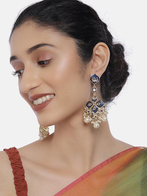 Blue & Gold-Plated Kundan Studded Classic Chandbalis