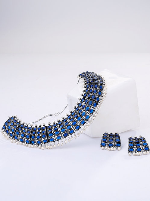 Blue Silver Plated BlueStone-Studded Jewellery Set