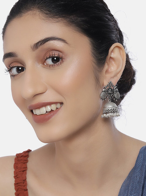 Oxidized Silver-Plated Handcrafted Pearls Dome Shaped Jhumkas