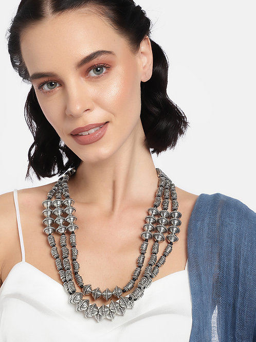 Women Silver-Plated Oxidised Handcrafted Layered Necklace