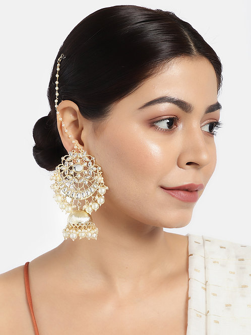 Gold-Toned & White Kundan-Studded Handcrafted Dome Shaped Jhumkas with Earchain