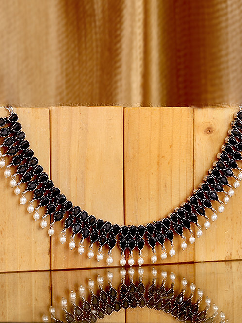 Black Silver Oxidized Double Tear Drop Necklace with Jhumka Earrings