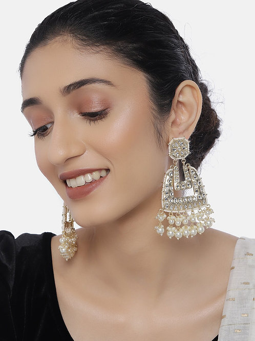 Gold-Plated & Off-White Classic Drop Earrings