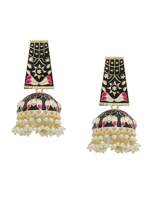 Black & Gold-Plated Enameled Dome Shaped Jhumkas
