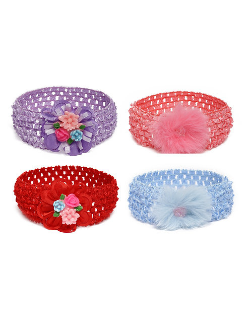 Girls Set of 4 Stretchable Floral Hairbands