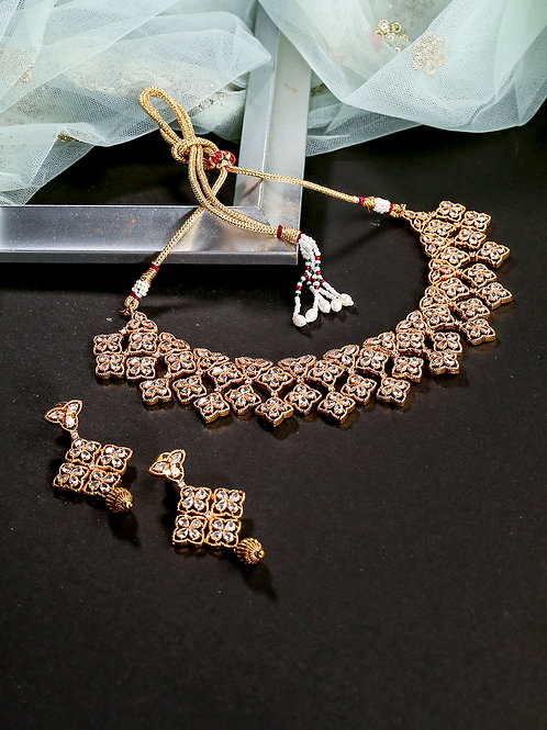 Gold-Plated Polki Studded Handcrafted Choker Jewellery Set