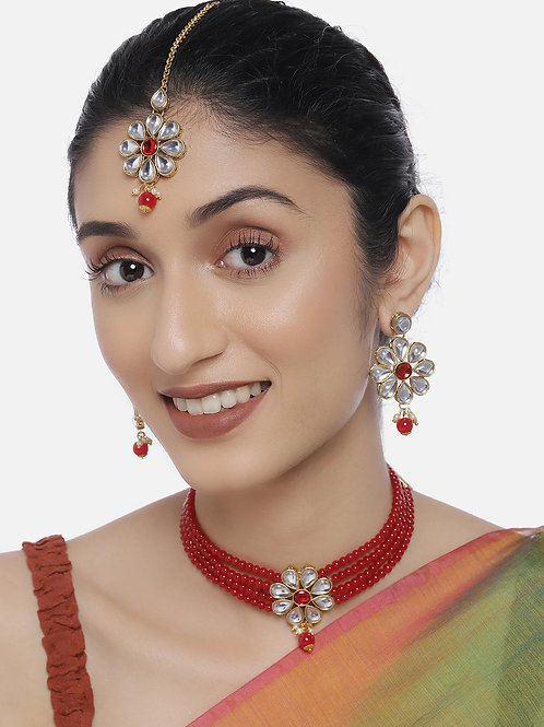 Women Gold-Plated & Red Jewellery Set With Maangtika