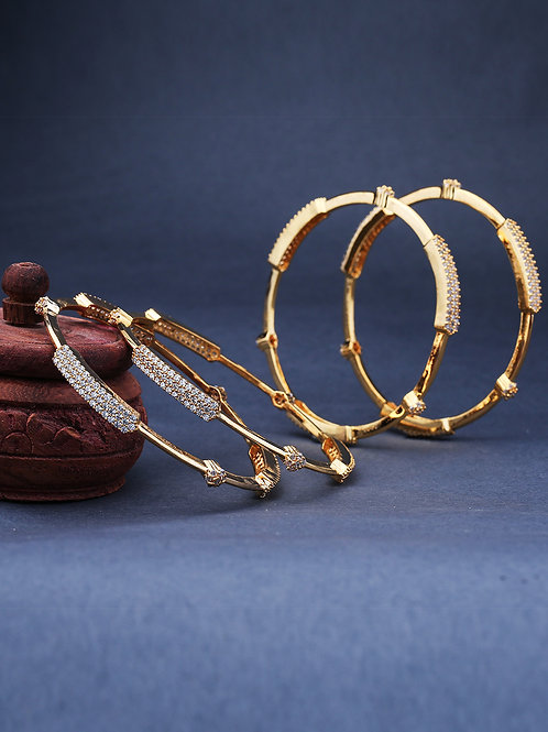 Set Of 4 Gold-Plated & White AD-Studded Handcrafted Bangles