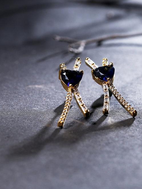 Gold-Plated & Blue Heart Shaped American Diamond Studded Drop Earrings