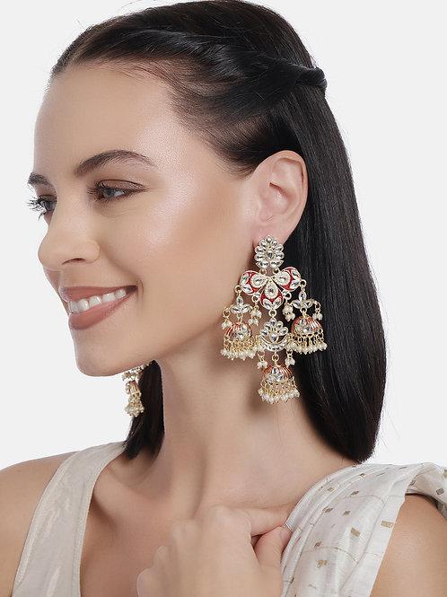 Gold-Plated & Maroon Meenakari Kundan Studded Contemporary Drop Earrings