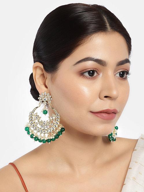 Gold-Plated & Green Classic Chandbalis