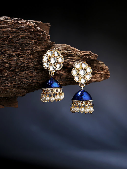 Blue & Gold-Toned Dome Shaped Jhumkas