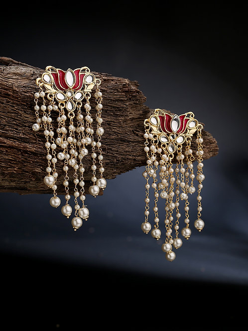 Gold-Plated & White Contemporary Drop Earrings