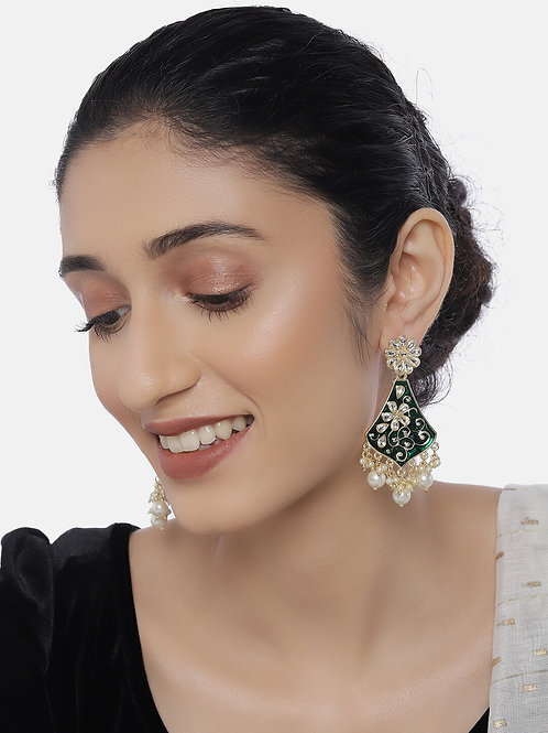 Gold-Plated & Green Classic Drop Earrings