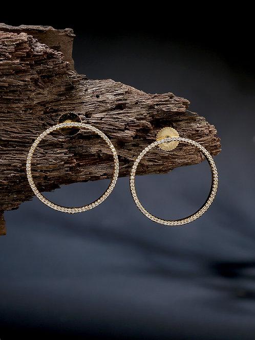 Gold-Plated & White American Diamond Studded Circular Drop Earrings