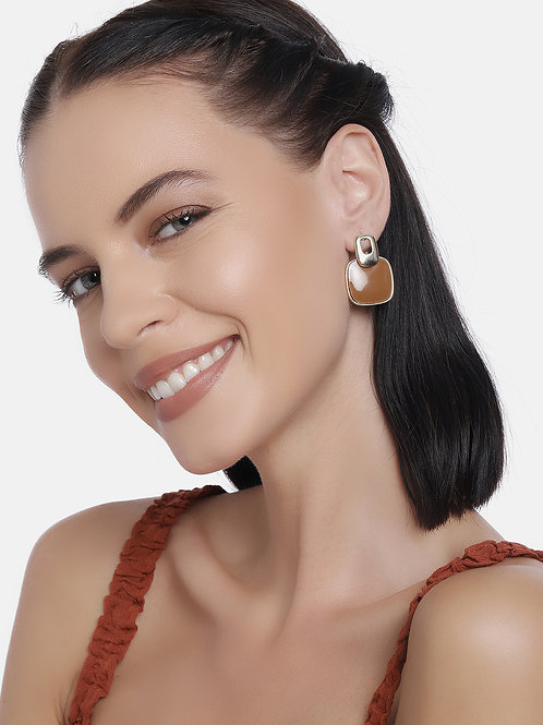 Set Of 2 Gold Plated Square Handcrafted Drop Earrings