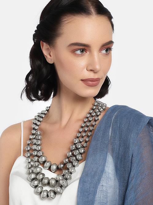 Silver-Plated Oxidised Handcrafted Layered Necklace
