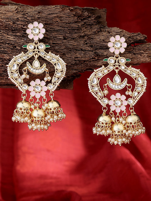 Gold-Plated Kundan Studded Handcrafted Drop Earrings