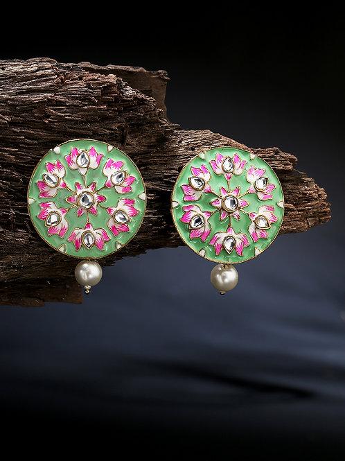 Sea Green & Pink Gold-Plated Meenakari Handcrafted Pearl Oversized Circular Stud