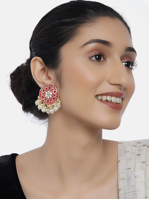 Gold-Plated & Red Embellished Circular Oversized Studs