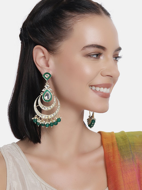 Gold-Plated & Green Crescent Shaped Handcrafted Chandbalis
