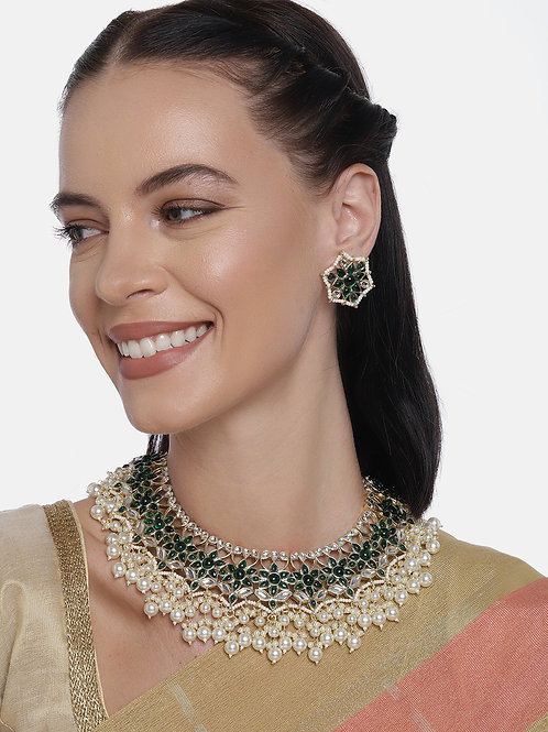 Green Gold-Plated Handcrafted Floral Jewellery Set