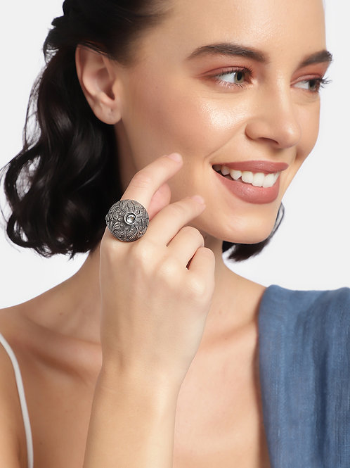 Women Oxidized Silver-Toned Rhodium Plated Adjustable Rings