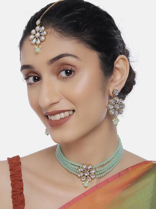 Women Gold-Plated & Green Jewellery Set With Maangtika