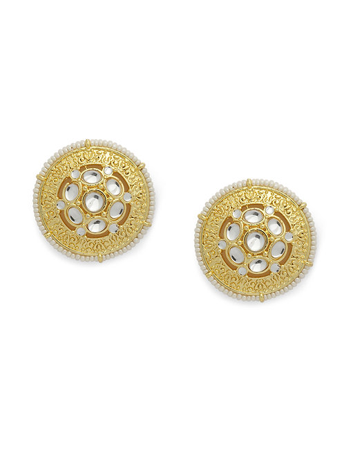 Gold-Plated Oversized Kundan Embellished Circular Studs