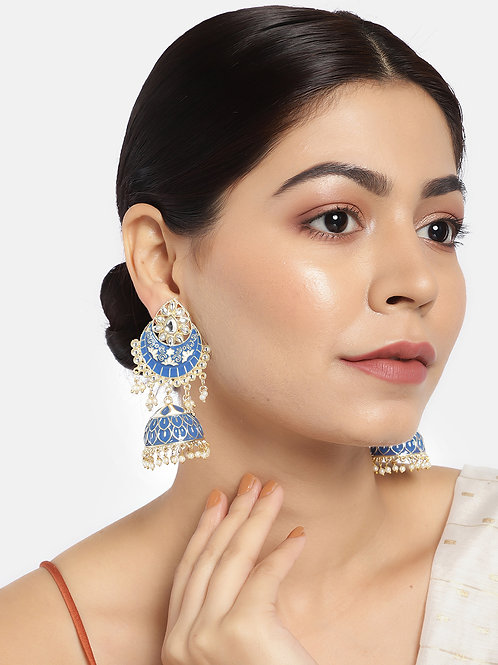 Blue & Gold-Plated Enamelled Dome Shaped Jhumkas
