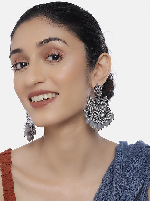 Silver-Toned Rhodium-Plated Handcrafted Kundan & Pearl Crescent Shaped Drop Earr