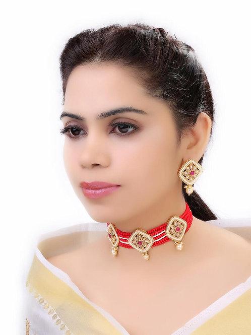 LAIDA Gold-Toned & Maroon Stone-Studded Jewellery Set