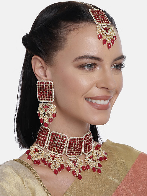Gold-Plated And Red Pearl Kundan Studded Jewellery Set